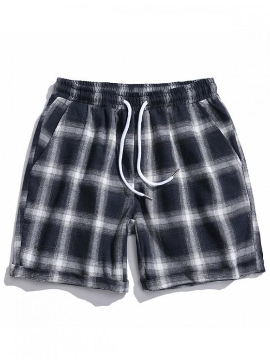shop Drawstring Plaid Casual Shorts - CADETBLUE L