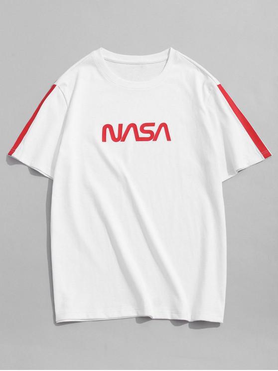 ZAFUL Letter Striped Basic T-shirt - أبيض S
