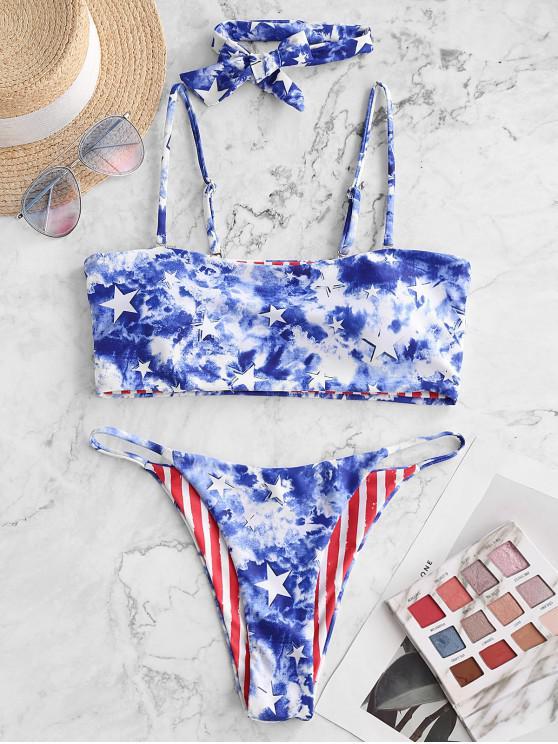 ZAFUL patriotic American Flag Tie Dye Reversibil String Bikini Costume de baie - Multi-A L