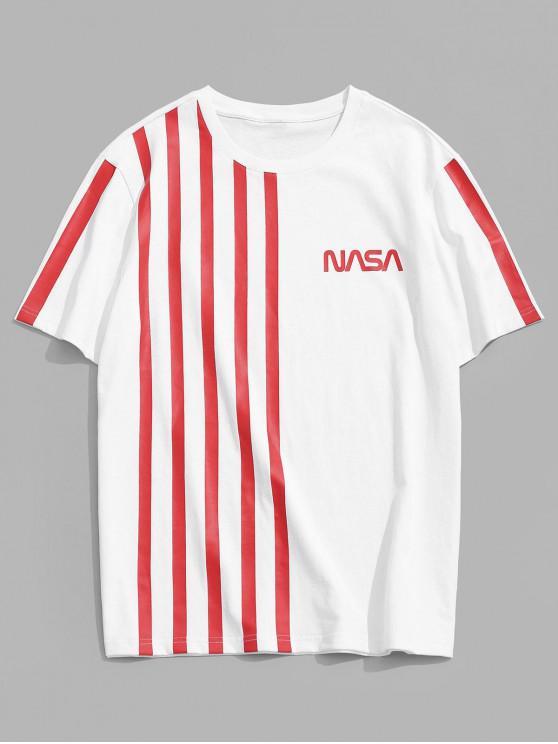 ZAFUL Letter Striped Pattern T-shirt - أبيض S