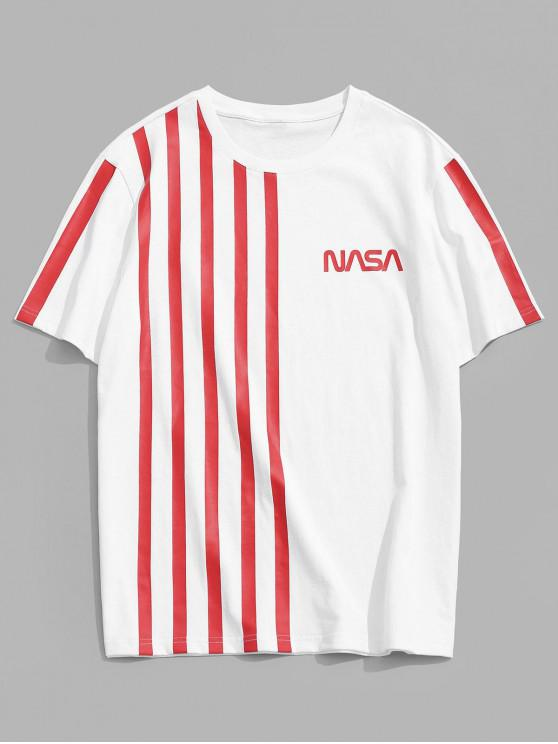 affordable ZAFUL Letter Striped Pattern T-shirt - WHITE 2XL