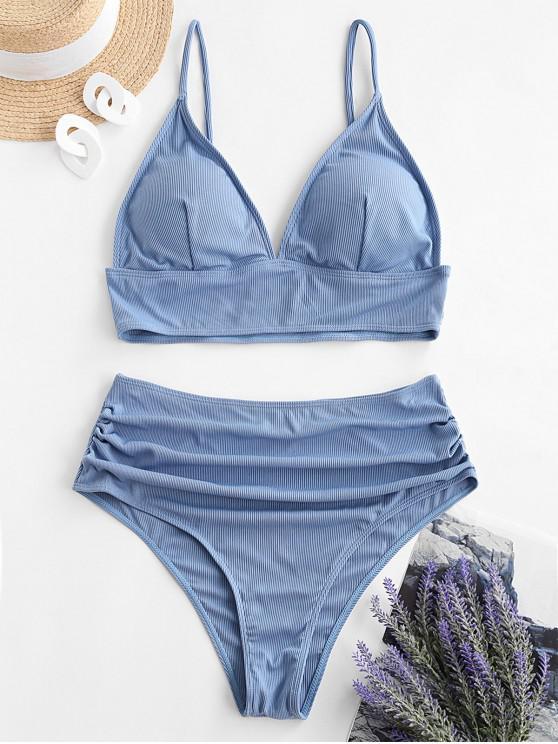 women's ZAFUL Plus Size Ribbed High Waisted Ruched Tankini Swimwear - SKY BLUE 4X