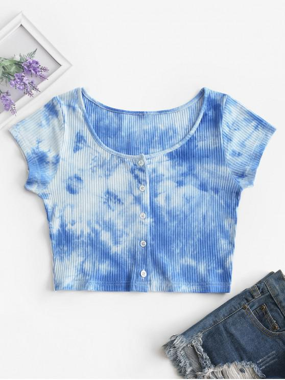 ladies Tie Dye Ribbed Button Up Crop Top - BLUE S