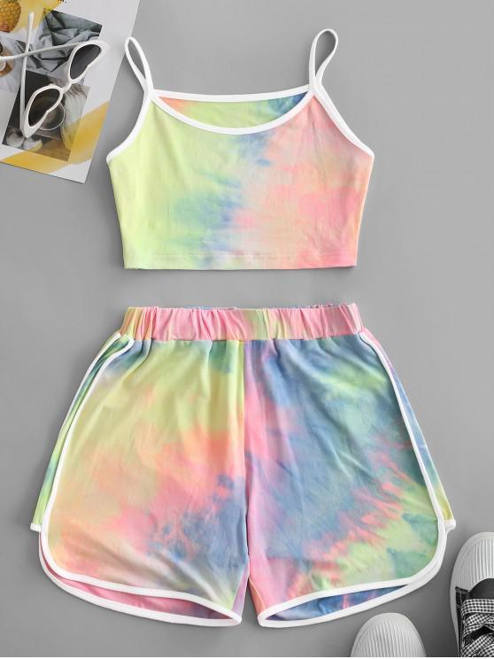 hot Contrast Trims Tie Dye Two Piece Set - MULTI S