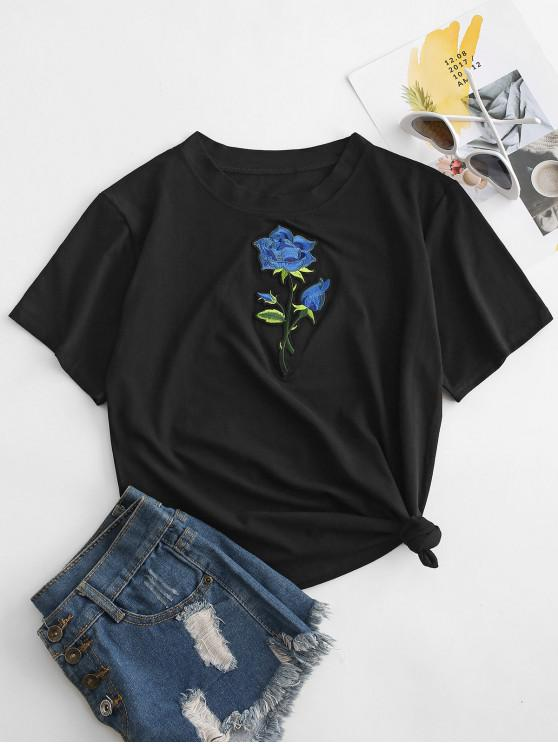 fashion Embroidered Flower Applique Short Sleeve T-shirt - BLACK L