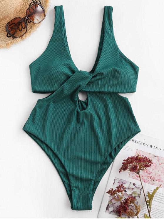 ZAFUL Ribbed Twist Cutout One-piece Swimsuit - ازرق مخضر M