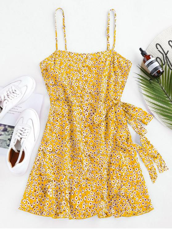 fancy ZAFUL Ditsy Print Self Tie Flounce Dress - YELLOW S