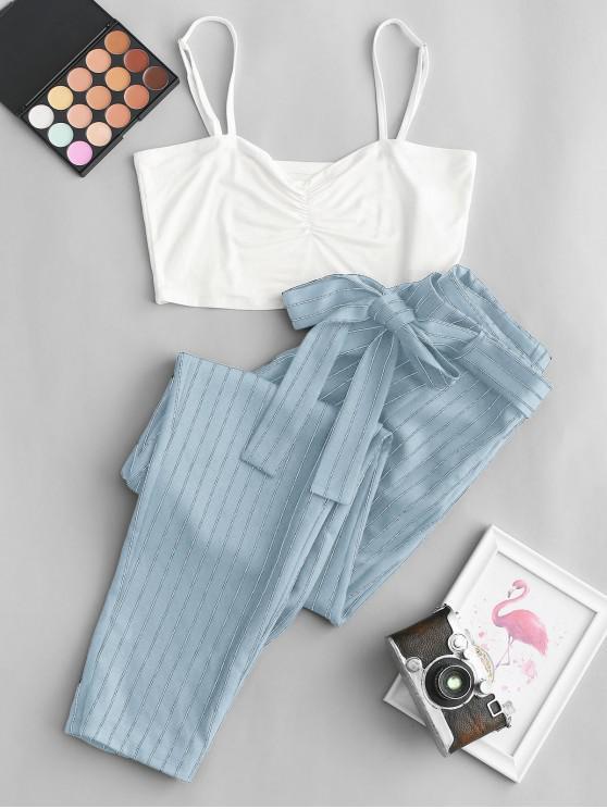 ZAFUL Decupată Cami Top si Striped Print belted Pantaloni Set - Lumină albastră M