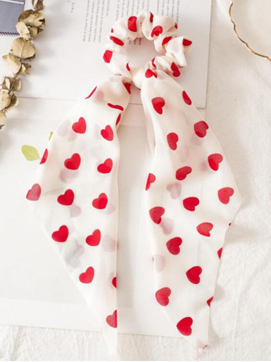 shops Heart Print Ribbon Hair Tie - RED