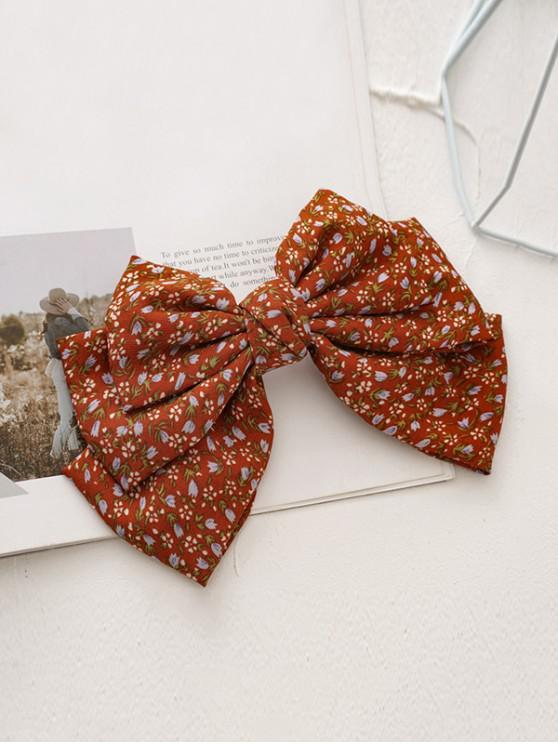 Ditsy Print Bowknot Hair Clip - أحمر