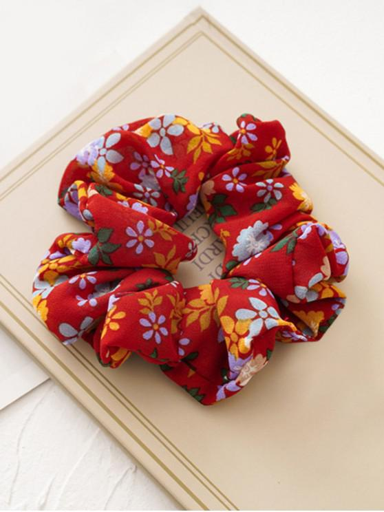 buy Tiny Flower Fabric Elastic Scrunchies - RED