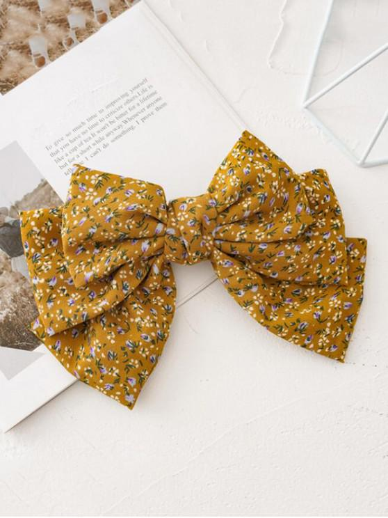affordable Ditsy Print Bowknot Hair Clip - YELLOW