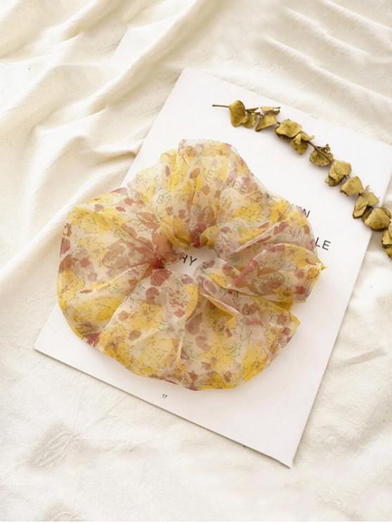 best Ditsy Floral Mesh Elastic Scrunchy - YELLOW