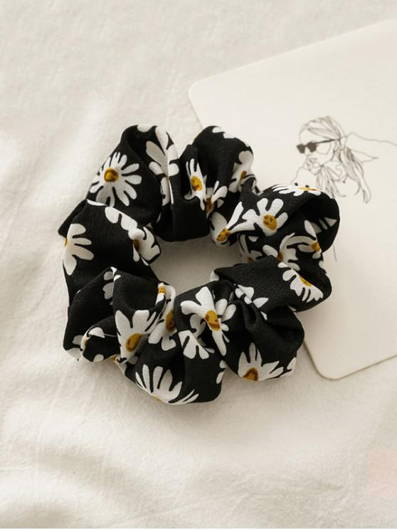 fashion Daisy Flower Print Fabric Scrunchy - BLACK