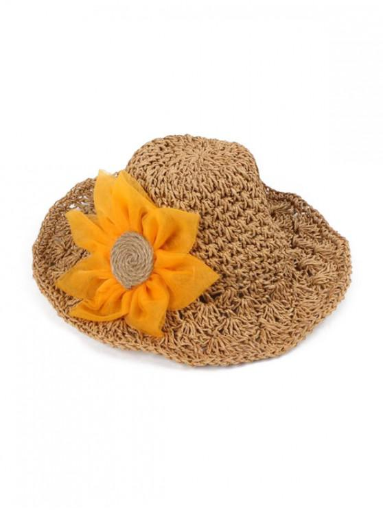 shops Sunflower Parent-child Crochet Straw Hat - BROWN CHILDREN (50-53CM)