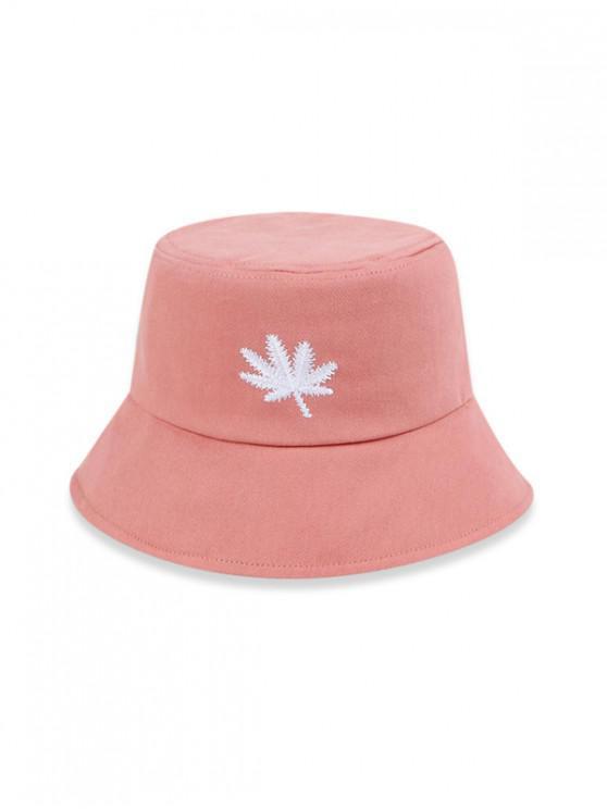 latest Embroidered Maple Leaf Bucket Hat - LIGHT PINK (56-58CM)