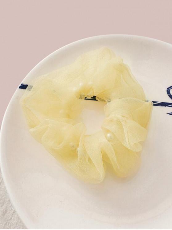 Faux Pearl Mesh Elastic Scrunchy - الأصفر