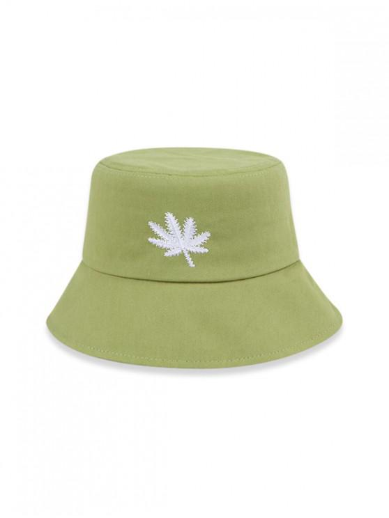trendy Embroidered Maple Leaf Bucket Hat - AVOCADO GREEN (56-58CM)