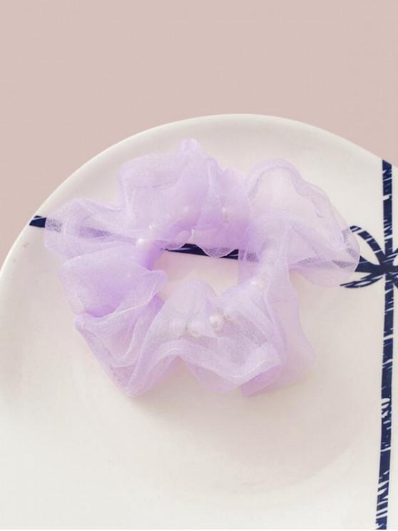 Faux Pearl Mesh Elastic Scrunchy - Violet