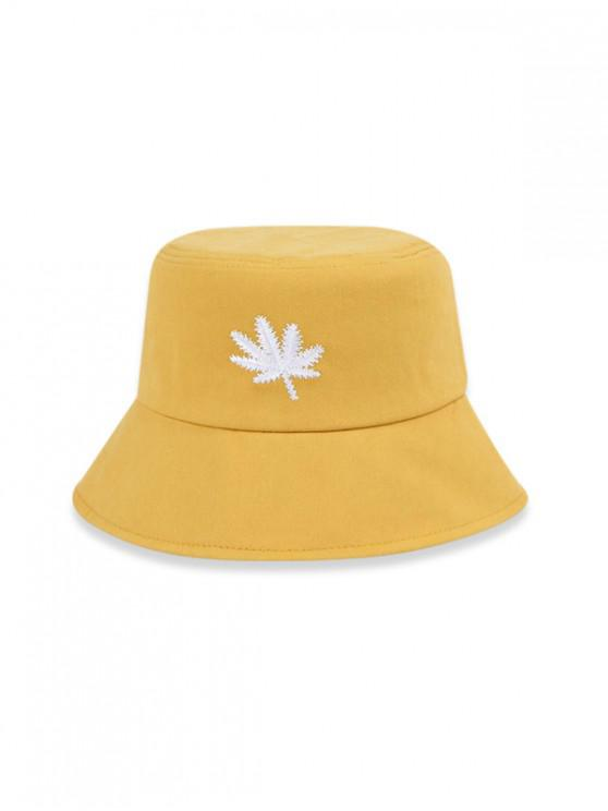 fashion Embroidered Maple Leaf Bucket Hat - RUBBER DUCKY YELLOW (56-58CM)