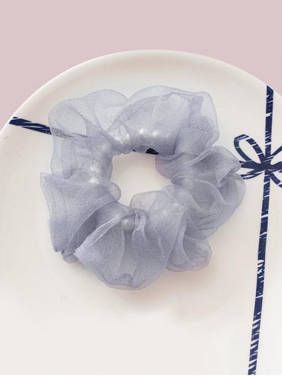 Faux Pearl Mesh Elastic Scrunchy - Albastru gri