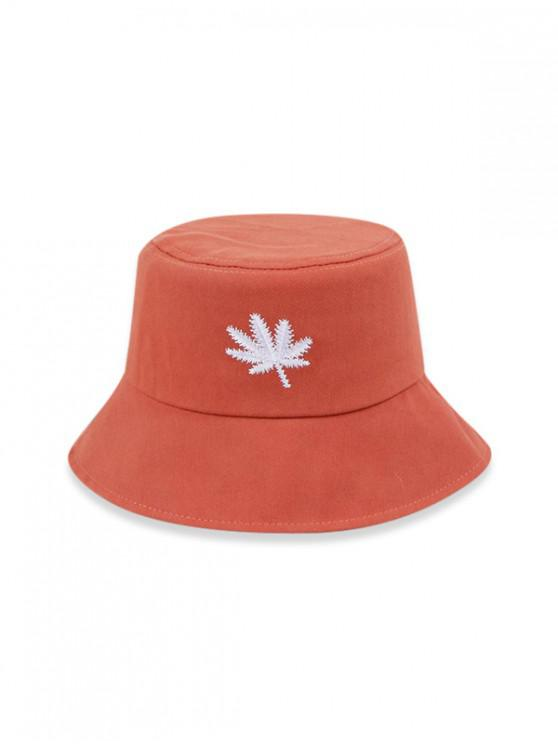 fancy Embroidered Maple Leaf Bucket Hat - TANGERINE (56-58CM)