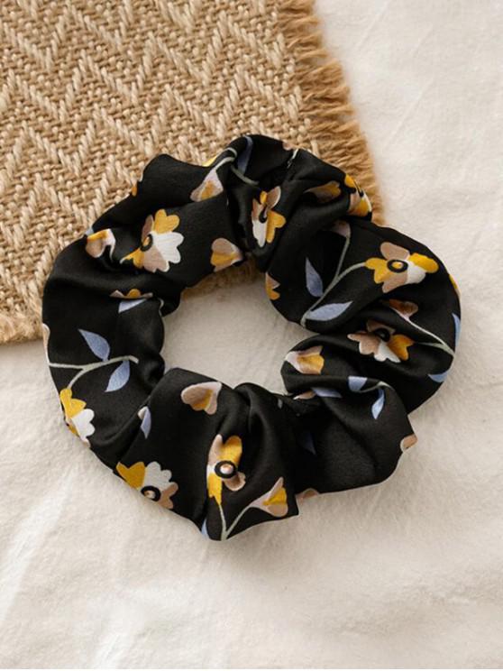 Floral Print elastice Fabric Scrunchy - Negru