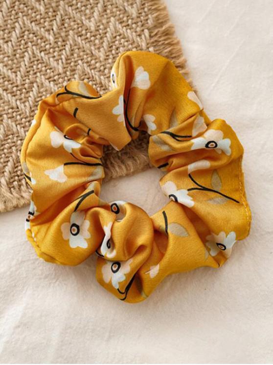buy Floral Print Elastic Fabric Scrunchy - YELLOW