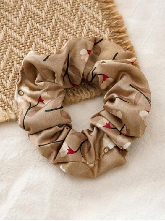 womens Floral Print Elastic Fabric Scrunchy - COFFEE