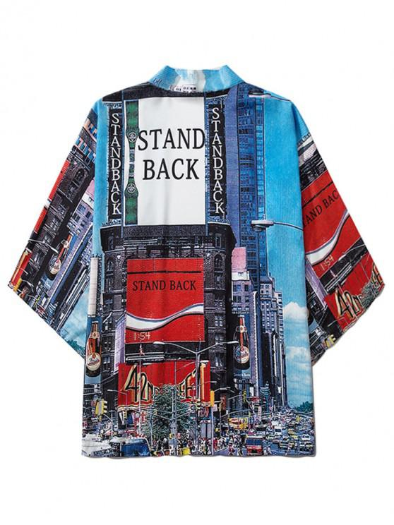 women Stand Back City Graphic Open Front Kimono Cardigan - BLUEBERRY BLUE 2XL