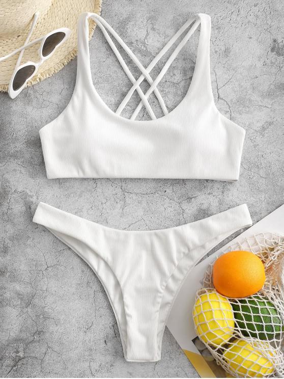 trendy ZAFUL Ribbed High Leg Strappy Bikini Swimsuit - WHITE S