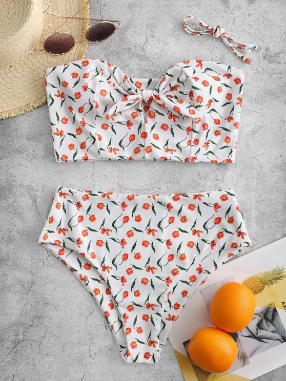 ZAFUL Let Love Blossom Knotted Tankini Swimsuit - متعددة-A L