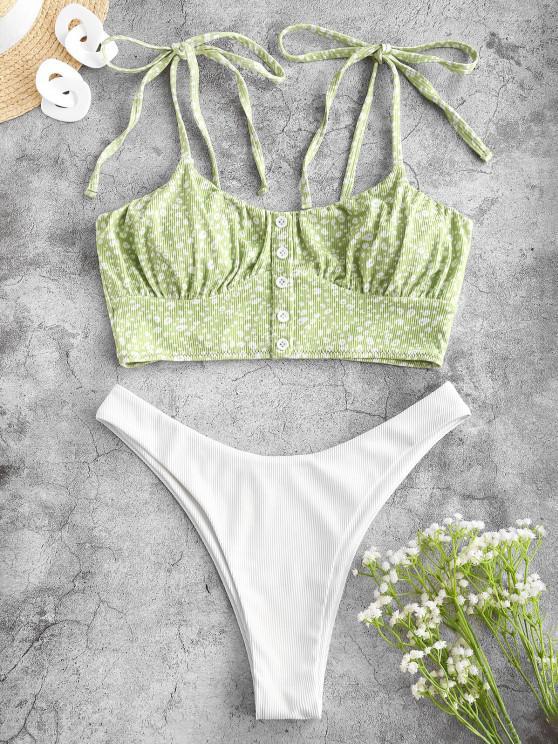 ZAFUL Tie Leopard Ribbed Tankini Swimwear - اخضر فاتح S