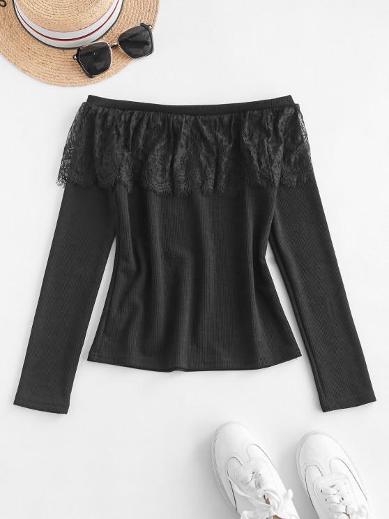 best Lace Flounce Off Shoulder Ribbed Jumper Sweater - BLACK S
