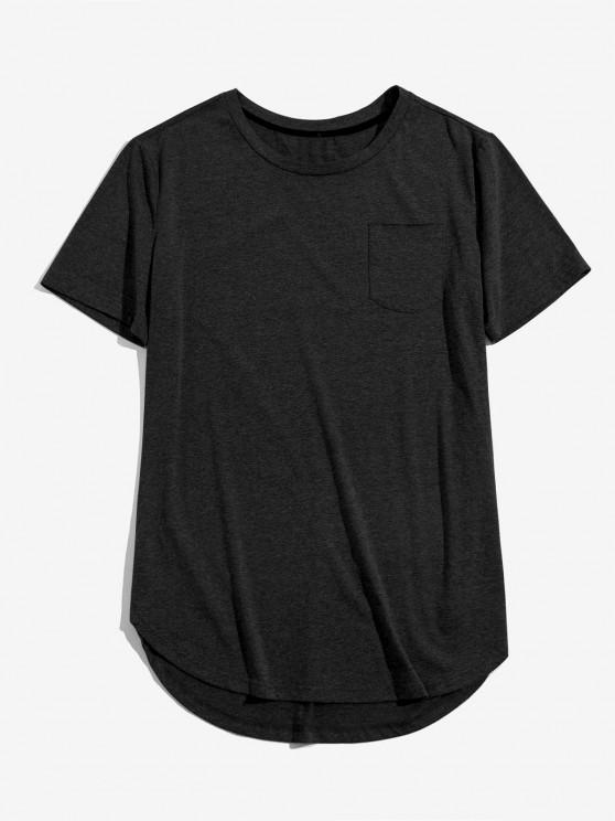 women ZAFUL Solid Chest Pocket High Low T-shirt - BLACK M