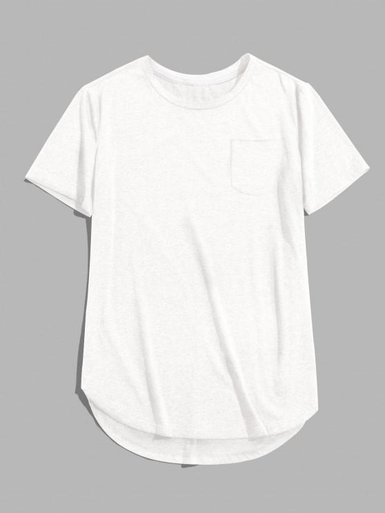 online ZAFUL Solid Chest Pocket High Low T-shirt - WHITE M