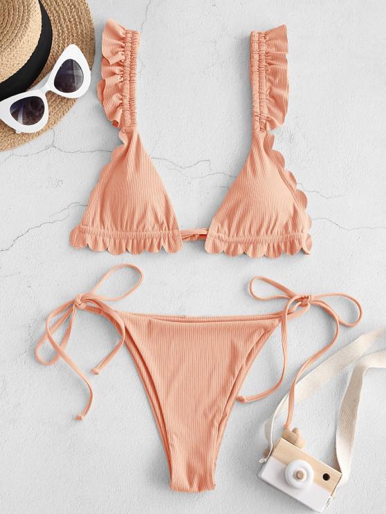 women ZAFUL My Aurantia Wings Scalloped String Bikini Swimwear - DEEP PEACH L