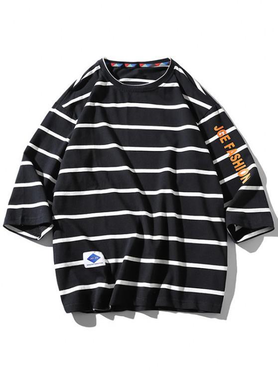 Buchstaben Grafikdruck Gestreiftes T-Shirt - Schwarz 4XL