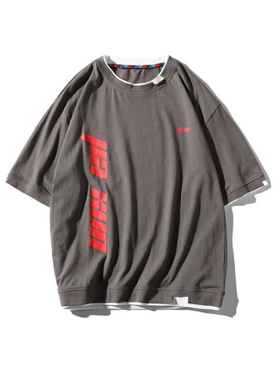Letter Print Contrast Trim 2fer T-shirt - اللون الرمادي 2XL
