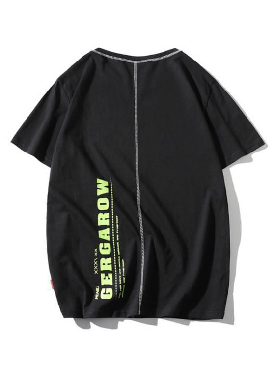 new Letter Print Stitching Short Sleeve T-shirt - BLACK L