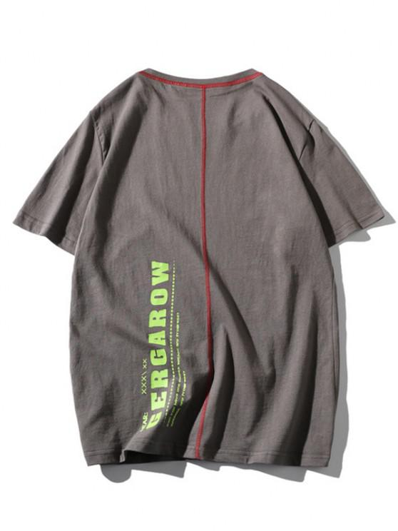 outfit Letter Print Stitching Short Sleeve T-shirt - GRAY S
