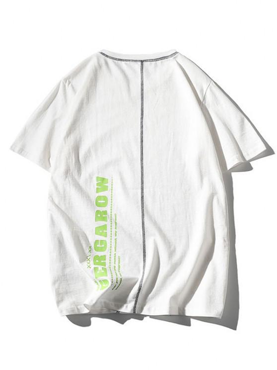 shops Letter Print Stitching Short Sleeve T-shirt - WHITE L