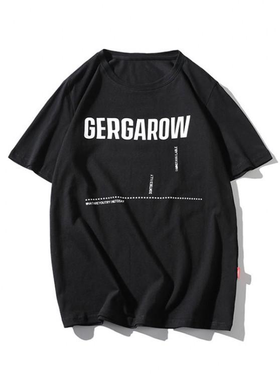 Letter Graphic Printed Basic T Shirt - أسود XS
