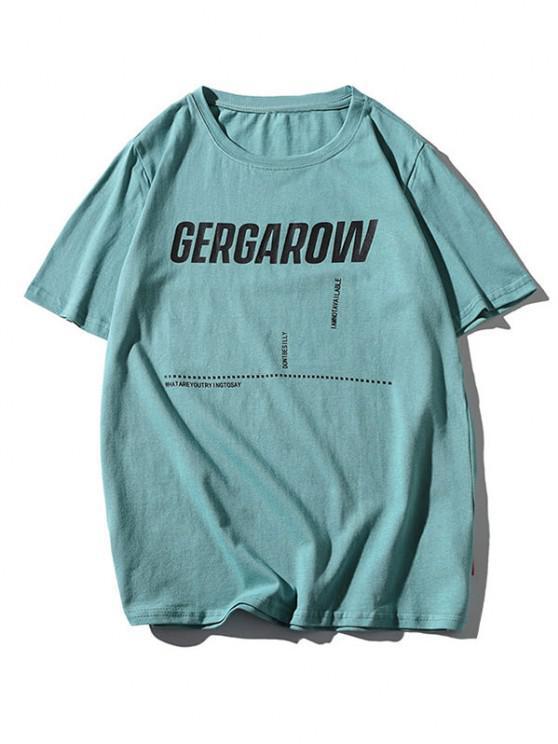 women Letter Graphic Printed Basic T Shirt - LIGHT GREEN M