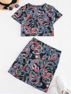 ZAFUL Cropped Animal Snake Print Two Piece Dress - Black S
