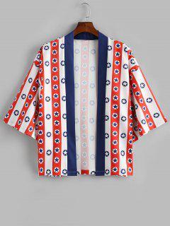 Camisa De Manga Corta Y Estampado Estrella Rayado - Blanco 2xl