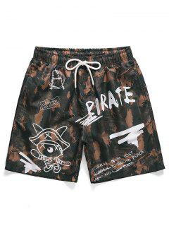 Letter Graphic Printed Casual Shorts - Puce M