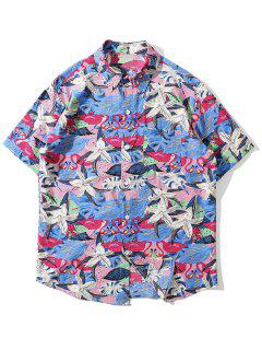 Tropical Flamingo Print Pocket Shirt - Rose Red Xl