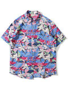 Tropical Flamingo Print Pocket Shirt - Rose Red 2xl
