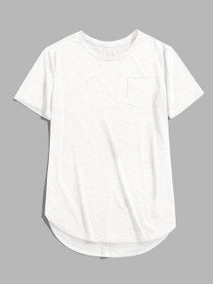 ZAFUL Solid Chest Pocket High Low T-shirt - White M